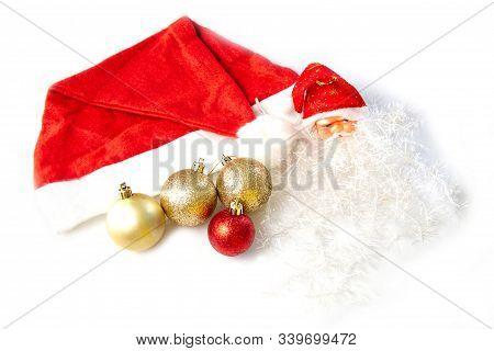 Christmas Head Santa Claus On White Background
