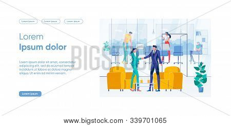 Development New Direction Concept Bright Idea. Man And Woman Shake Hands Standing Near Armchairs Bac