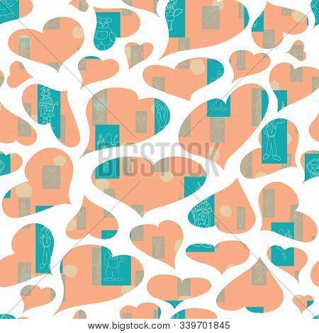 Vector Pastel Orange Hearts Anthropomorphic Characters Seamless Pattern Background