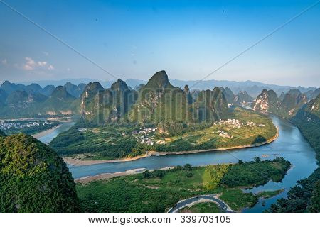 Xianggong Hill Viewpoint Panorama Of Beautiful Green, Lush And Dense Karst Mountain Landscape In Yan