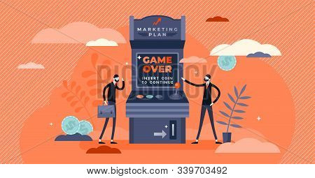 Marketing Plan Fail, Creative Gamer Over Game Concept, Flat Tiny Business Person Vector Illustration