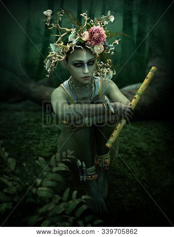 3d Computer Graphics Of A Female Forest Spirit With Wreath And Flute