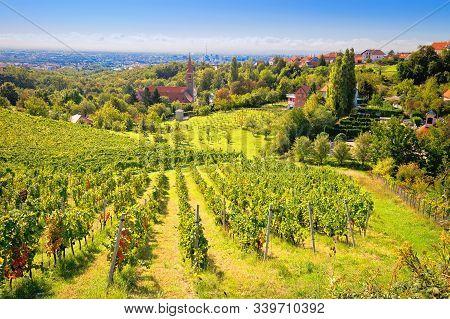 Zagreb Green Zone. Church And Vineyard On Green Hill Above Croatian Capital Zagreb, Remete, Croatia