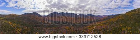 White Mountain National Forest Fall Foliage On Kancamagus Highway Near Hancock Notch Panorama Aerial