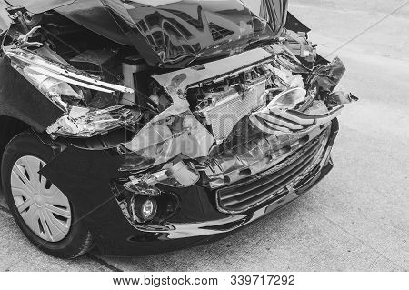 Black And White Image Concept, Car Crash Accident On Street, Damaged Automobiles After Collision In