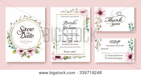Wedding Invitation, Save The Date, Thank You, Rsvp Card Design Template. Vector. Watercolor Styles.
