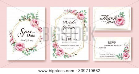 Wedding Invitation, Save The Date, Thank You, Rsvp Card Design Template. Vector. Queen Of Sweden Ros