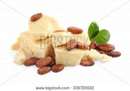 Organic Cocoa Butter, Beans And Green Leaves Isolated On White