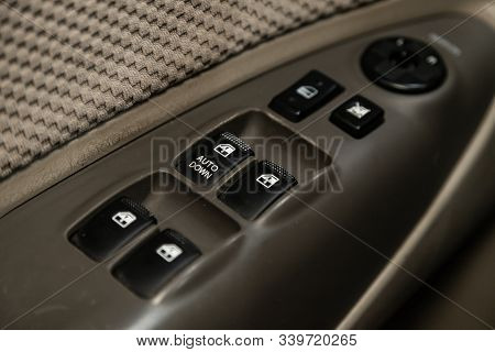 Novosibirsk, Russia - October 26, 2019:  Hyundai Tucson,  Close Up Of A Door Control Panel In A New