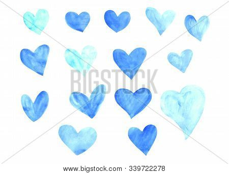 Set Of Blue Watercolor Hearts. Perfect For Creating Romantic Cards And Valentines Day Decor. Hand Dr
