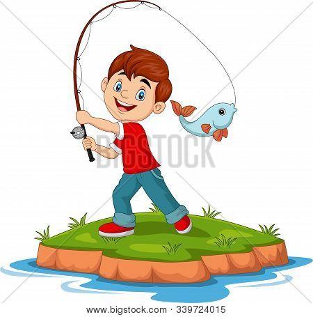 Vector Illustration Of Cartoon Happy Boy Fishing
