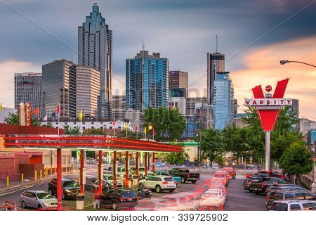 ATLANTA, GEORGIA - JUNE 25, 2017: Traffic forms at the Varsity in downtown Atlanta. The Varsity is an iconic fastfood restaurant chain with branches across metropolitan Atlanta.