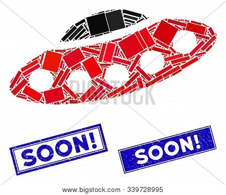 Mosaic Alien Visitors Spaceship Pictogram And Rectangular Soon Exclamation Seal Stamps. Flat Vector