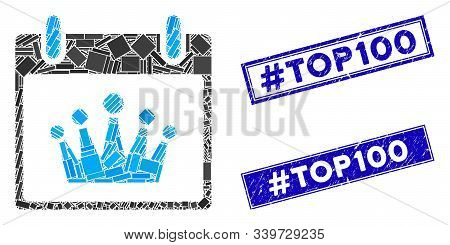 Mosaic Crown Calendar Day Icon And Rectangle Hashtag Top100 Stamps. Flat Vector Crown Calendar Day M