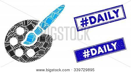 Mosaic Paint Tools Pictogram And Rectangular Hashtag Daily Watermarks. Flat Vector Paint Tools Mosai