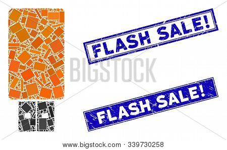 Mosaic Usb Flash Drive Icon And Rectangular Flash Sale Exclamation Seal Stamps. Flat Vector Usb Flas