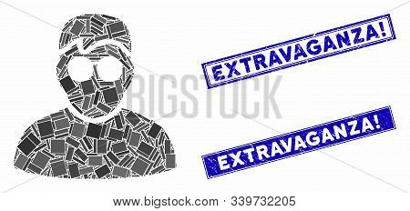 Mosaic Boy Icon And Rectangular Extravaganza Exclamation Watermarks. Flat Vector Boy Mosaic Icon Of