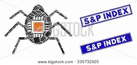 Mosaic Spy Bug Icon And Rectangular S And P Index Seal Stamps. Flat Vector Spy Bug Mosaic Icon Of Ra