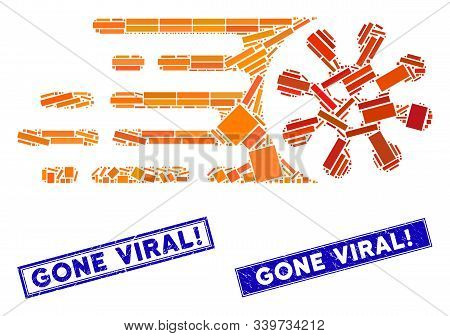 Mosaic Gone Viral Pictogram And Rectangle Gone Viral Exclamation Watermarks. Flat Vector Gone Viral