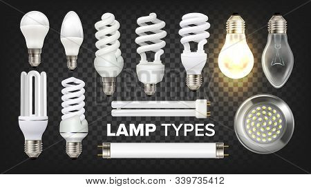 Led, Fluorescent And Incandescent Lamps Set Vector. Collection Of Different Energy-saving Eco-friend