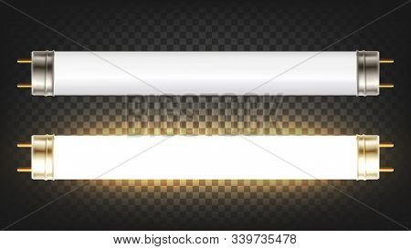 Lighting Electrical Energy Fluorescent Lamp Vector. Gas Excites Mercury Vapor Produce Short-wave Ult