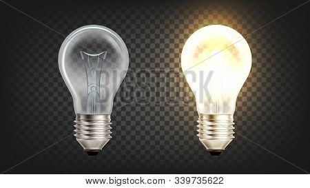 Electrical Glowing Incandescent Light Bulb Vector. Lightbulb With Wire Filament Heated To Such High