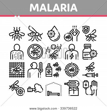 Malaria Illness Dengue Collection Icons Set Vector Thin Line. Malaria Mosquito, Spray And Protect Cr