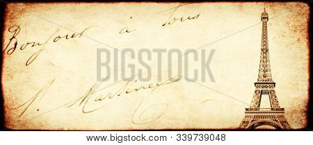 Vintage grunge background with old paper texture and Eiffel Tower - famous landmark of Paris and inscription