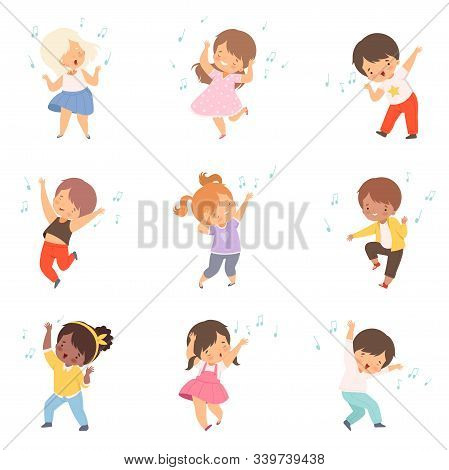 Cute Boys And Girls Singing And Dancing Set, Adorable Children Having Fun And Enjoying Listening To