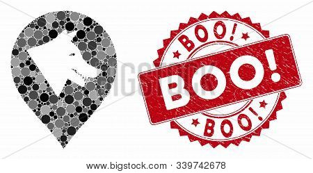 Mosaic Evil Dog Marker And Grunge Stamp Seal With Boo Exclamation Caption. Mosaic Vector Is Designed