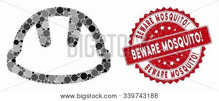 Mosaic Hardhat And Distressed Stamp Seal With Beware Mosquito Exclamation Caption. Mosaic Vector Is