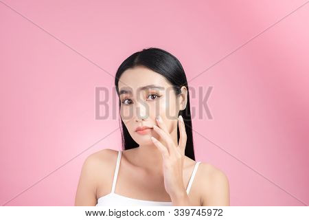 Young Asian Woman Touch And Worry About Her Face. Acne, Pimple, Clear And Clean, Oily, Dry Skin Conc
