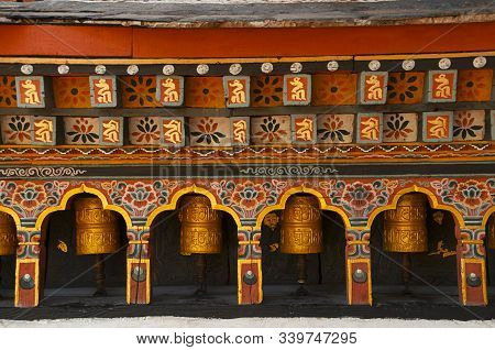 Prayer Wheels, Close View, At Thimpu In Bhutan