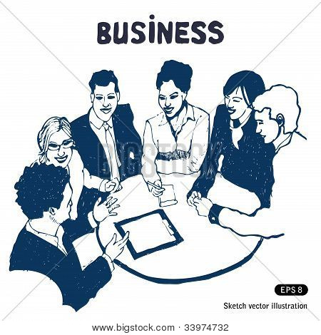 Business group portrait - Six business people working together