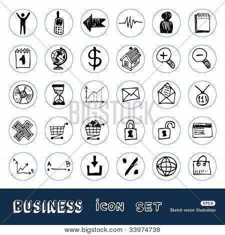 Business, shopping and work web icons set