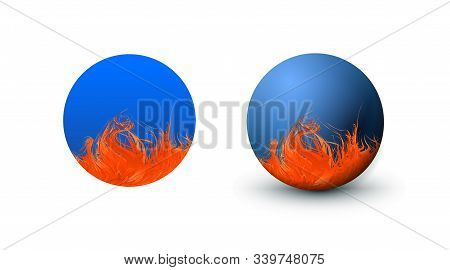 Blue Sphere And Circle Classic Blue Color With Orange Red Pattern. Matt Mock Up Of Clean Realistic O