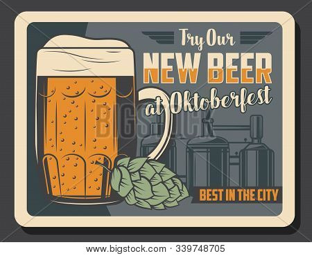 Oktoberfest Beer Bar Retro Vintage Poster. Vector German Traditional Oktoberfest Beer Festival And B