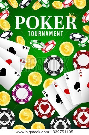 Casino Poker Game, Professional Gamble Game And Jackpot Dollars Money Win. Vector Online Casino Gamb