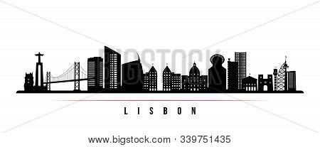 Lisbon Skyline Horizontal Banner. Black And White Silhouette Of Lisbon, Portugal. Vector Template Fo