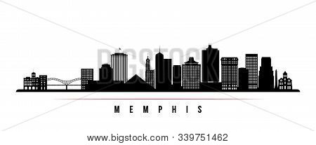 Memphis Skyline Horizontal Banner. Black And White Silhouette Of Memphis, Tennessee. Vector Template