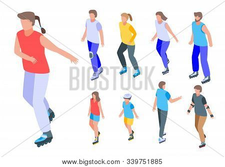 Inline Skates Icons Set. Isometric Set Of Inline Skates Vector Icons For Web Design Isolated On Whit