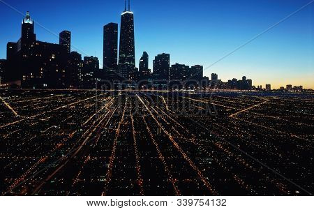 Chicago Town Beautiful View At Night With Skyscapes And Widen Roads With Lighting