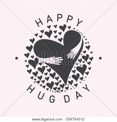 Vector Typographic Letter Hug Day With Abstract Hand Illustration Design. Hug Day Vector Cencept Des