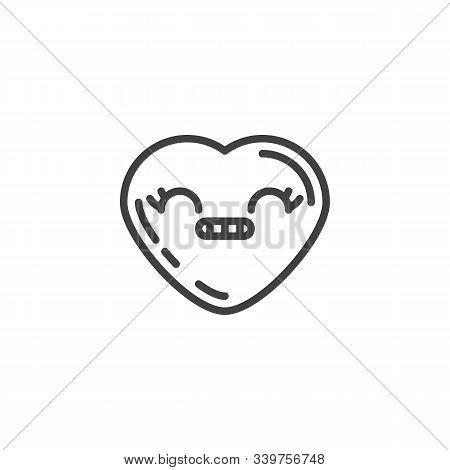 Grimacing Heart Face Emoji Line Icon. Linear Style Sign For Mobile Concept And Web Design. Smirking