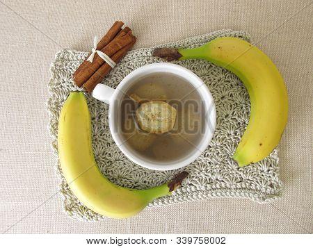 Banana Peel Tea, Tea From Organic Bananas, Banana Peel And Cinnamon