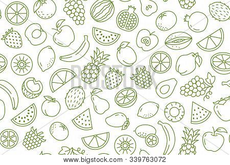Fruit And Berry Background, Abstract Food Seamless Pattern. Fresh Fruits Wallpaper With Apple, Banan