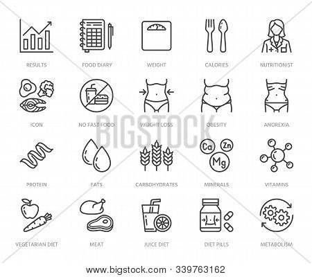 Nutritionist Flat Line Icons Set. Diet Food, Nutritions - Protein, Fat, Carbohydrate, Fit Body Vecto