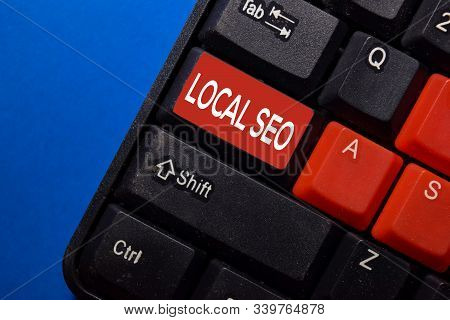 Local Seo Write On Keyboard Isolated On Laptop Background