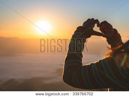 Heart In Hands, Loving Couple And  Sunrise Background, Couple In Love, Happy Couple In Love,  Love C