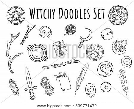 Witchy Doodles Set. Collection Of Wiccan Witchcraft Magical Items For Occult Rituals. Hand Drawn Pag